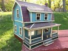 PRIMITIVE ANTIQUE VINTAGE RUSTIC WOOD HOUSE DOLLHOUSE GLASS WINDOWS FOLK ART OLD