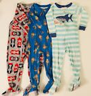 Toddler Boy Sleepers Footie Pajamas Lot Of 3 Size 18 Mths Cars Shark Monkey