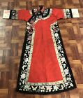 Elegant Antique Vibrant Red Ladies Chinese Silk Robe with Colorful Details NR