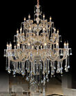vintage Hotel cognac crystal chandelier led pendabt lamp Large 32-arm hang light