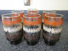 SET of 7 Vintage 60's 70's Retro Libbey Tumblers Zig Zag Tribal Textured Design