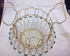 Vintage French Mid Century Modern Collapsible Brass Folding Wire Egg Basket