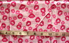 1 2 yd Flannel Fabric Pink with Lips in Red Pink  White