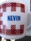Vtg Westfield Red Plaid Mug Milk Glass Personalized KEVIN D Handle Coffee Cup