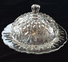 Early American Prescut Clear Cover Butter Dish Pineapple Anchor Hocking VTG EAPC