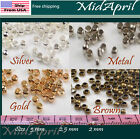 Crimp End Beads ROUND Silver Gold Bronze Metal Plated 2  25  3 mm US SELLER