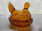 L E  Smith Glass Amber Heritage Hen On Nest Covered Candy Trinket Box