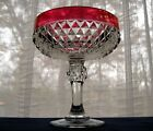 Indiana Glass Clear Ruby Flash Band Diamond Point Compote