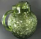 Vintage Anchor Hocking Green Glass Lido Milano Pitcher 9.5