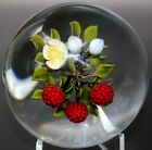 MARVELOUS Magnum VICTOR TRABUCCO Berries and FLOWERS Art Glass PAPERWEIGHT
