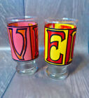 2 Vtg  Mid Century Anchor Hocking 1960's Retro LOVE Glasses Tumblers Boho Chic