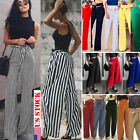 Women Office Striped Pants Loose High Waist Wide Leg Long Palazzo Lady Trousers