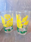 Vintage Mid Century Modern Yellow Rose Tumblers Drinking Glasses