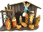 Vintage Nativity Set 11pc Art Plastics Wood Stable Original Box 1960 Hong Kong