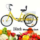 24 Adult Tricycle 3 Wheel 6 Speed Bicycle Trike Cruiser Basket Shopping Cart