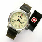 NEW GENTS WENGER SWISS MILITARY 41MM CREAM DIAL SS 100M WR FIELD WATCH #0441.334