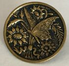 Butterfly Flowers Medium Size Antique Metal Picture Button Old Pictorial