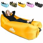 Inflatable Lounger air couch chair sofa pouch Lazy hammock blow up bag Yellow