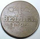 GERMAN STATES 1782 4 HELLER HESSEN KASSEL CASSEL ANTIQUE CURRENCY COIN MONEY