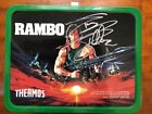 VINTAGE 1985 RAMBO METAL LUNCH BOX WITH THERMOS SYLVESTER STALLONE SIGNED