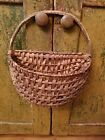 Antique Early Old Primitive Wall Splint Half Hanging Basket