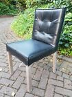 6 Modern Ex Display Black Dining Chairs Faux Leather Padded Back Kitchen Room