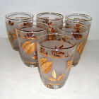 Vintage Libbey glass gold leaf golden foliage juice glassware barware Set of 6