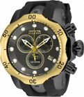 USED Invicta Venom 16154 Men's Black Rubber Strap Swiss Quartz Watch Gold Bezel