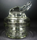 Vtg Jeannette Depression Glass Elephant 2 Pc Trinket Box Mid Century Sugar Bowl