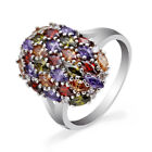 Multi color Amethyst Garnet Topaz 925 Silver Engagement Ring Jewelry Size 6 9