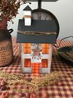 Primitive* Wooden Electric Lighted Saltbox House* Country Farmhouse* White-wash