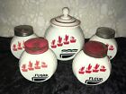 HTF Rare Vintage Fire King Vitrock Flower Pot Range Set 5 Grease Salt Pepper