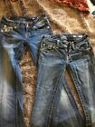 2 Vintage Miss Me Jeans Womens Size 25 Bedazzled Bejeweled JP5645B And JP5002 42