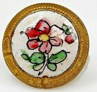 SMALL Antique FRENCH Hand Painted ENAMEL Button FLOWER WITH BUCKLE Border  9/16
