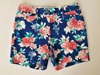 NWT Lands' End Sail Blue Floral Mid Rise Shorts Ladies Size 16P Retail $55