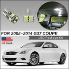 11pcs LED Interior Lights Bulbs White for 2008-2014 G37 Coupe kit Package+Tool