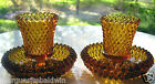 Indiana Glass 2 Amber Diamond Point Taper Candle Holders with Votive Cups
