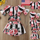 Toddler Kids Baby Girls Floral Outfits Clothes T shirt Tops+Pants 2PCS Sets USA