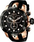 USED Invicta Venom Men's Black Rubber Strap Swiss Quartz Watch Rose Gold Bezel