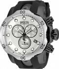 USED Invicta Venom Men's Black Rubber Strap Swiss Quartz Watch Silver Bezel