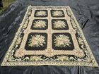 Vintage Portuguese Hand Made Needlepoint Wool Rug Fine point.
