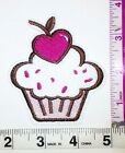 Pink Cupcake Cherry Heart Embroidered Iron Sew on Patch Applique 350 X 300