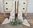 Set of 2 Antique Victorian White Wood Corbels Brackets Salvaged 29