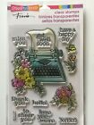 Stampendous Clear Acrylic Stamp Set Floral Typewriter SSC1271 NEW