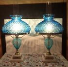 Rare Pair Quilted Diamond Pattern BLUE GLASS Textured Hurricane LAMPS