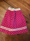 ANTIQUE 1800s EARLY OLD 19TH C CLOTH RED CALICO RAG DOLL SKIRT