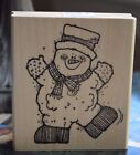 Hooks Lines  Inkers dancing winter Snowman wood mounted rubber stamp