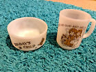 Vintage  Fire King Child Born On ~ The Sabbath Day ~ Mug and Bowl