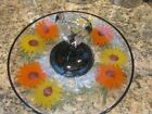 Yellow Floral Glass Tidbit Tray w/Glass Handle~ 60's ~10