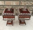 1940's Vintage Indiana Glass Ruby Red Flash Candy Dish Square Pedestal Set 2